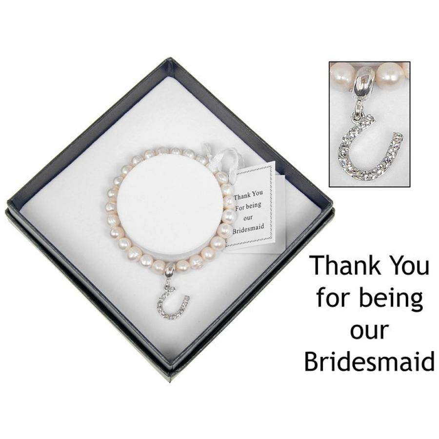 Silver Plated & Freshwater Pearl Horseshoe Charm Bridesmaid Bracelet