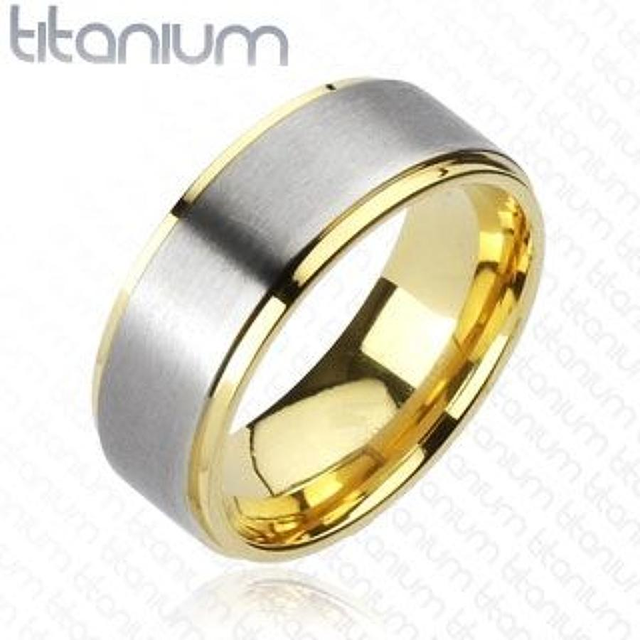 Titanium 2-Tone Brushed Centre Gold IP Edges Band Ring