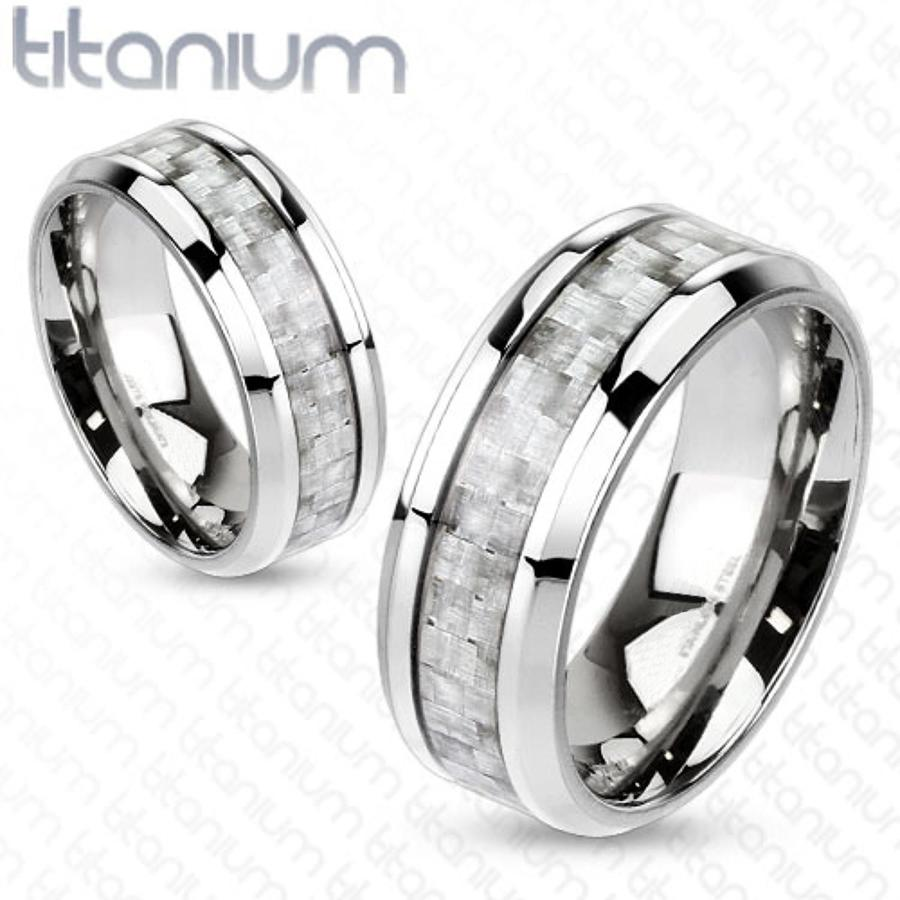 Titanium With Silver Carbon Fibre Inlay Centre Band Ring