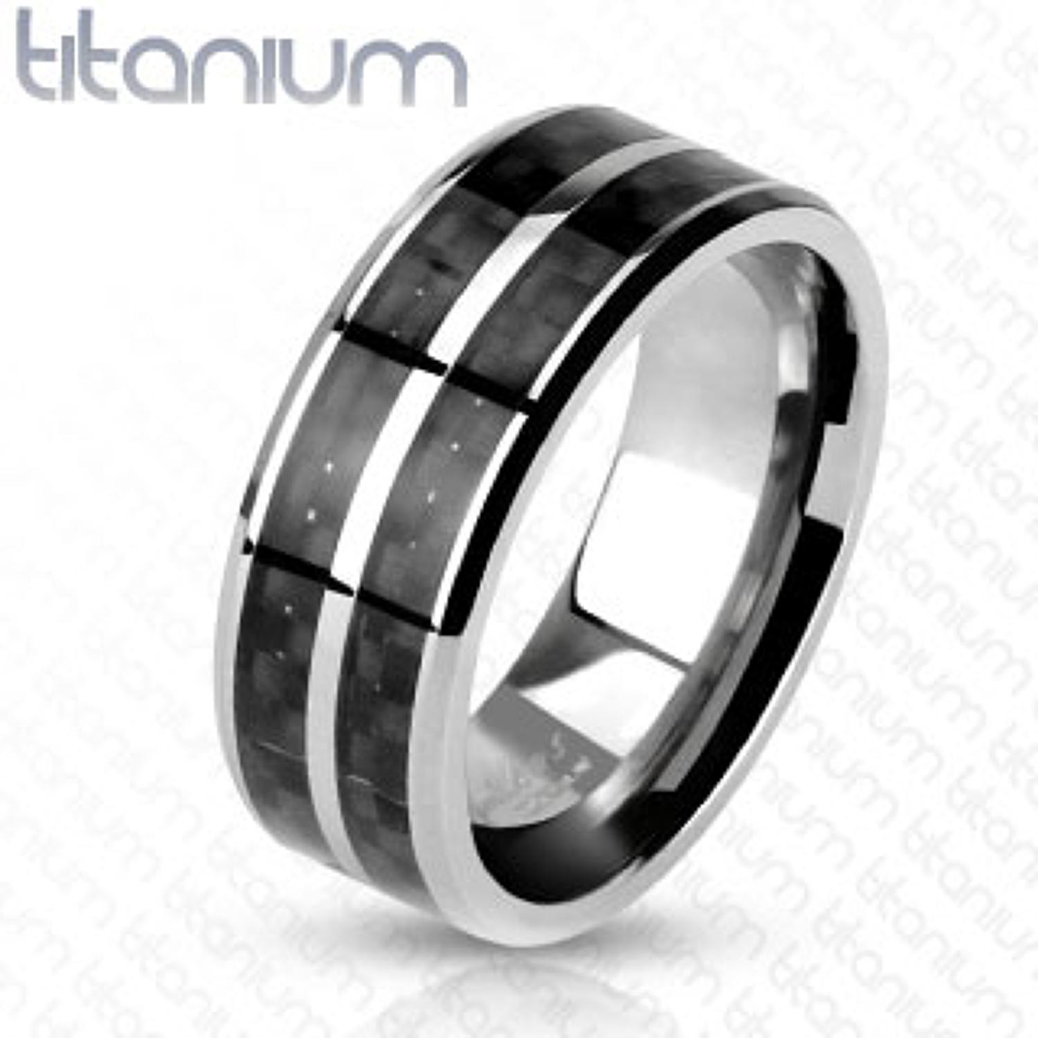Titanium Band Ring With Double Row Black Carbon Fibre Inlay