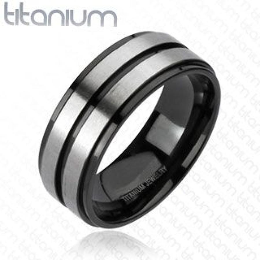 Titanium Brushed Double Stripe Center Band Ring