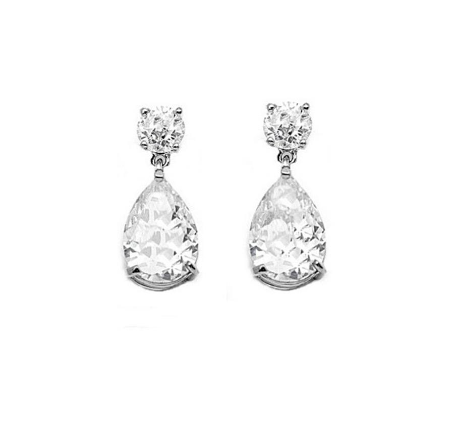 Rhodium Plated Crystal Teardrop Earrings