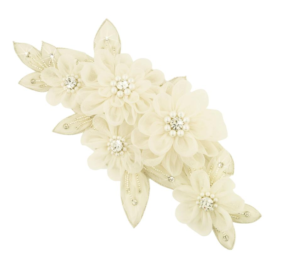 Helene Cream Flower & Crystal Head Piece