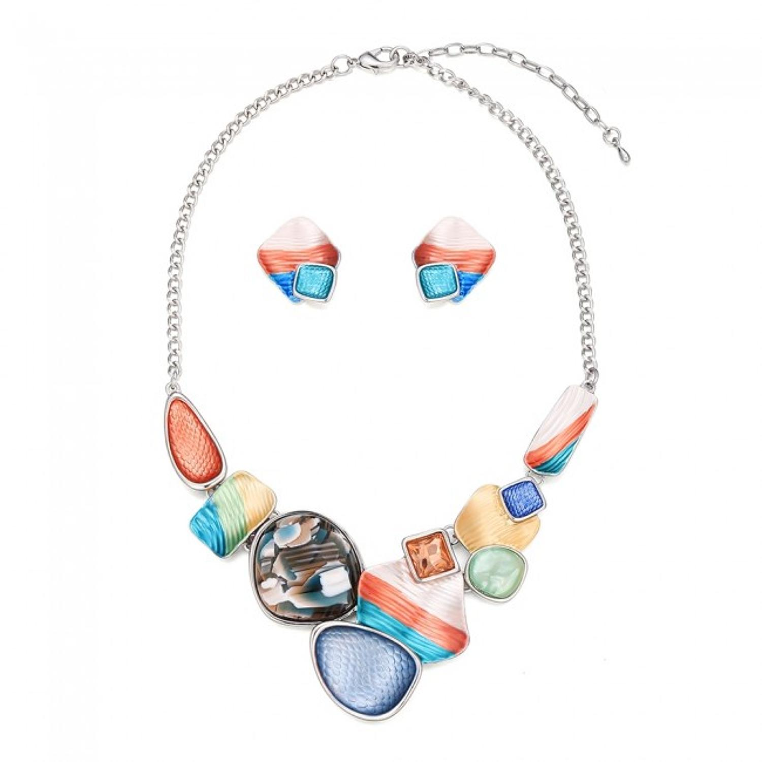 Abstract Mixed Colour Necklace & Earring Set