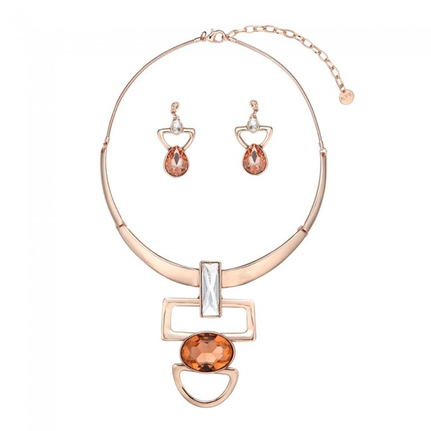 Champagne Pink Contemporary Necklace & Earring Set