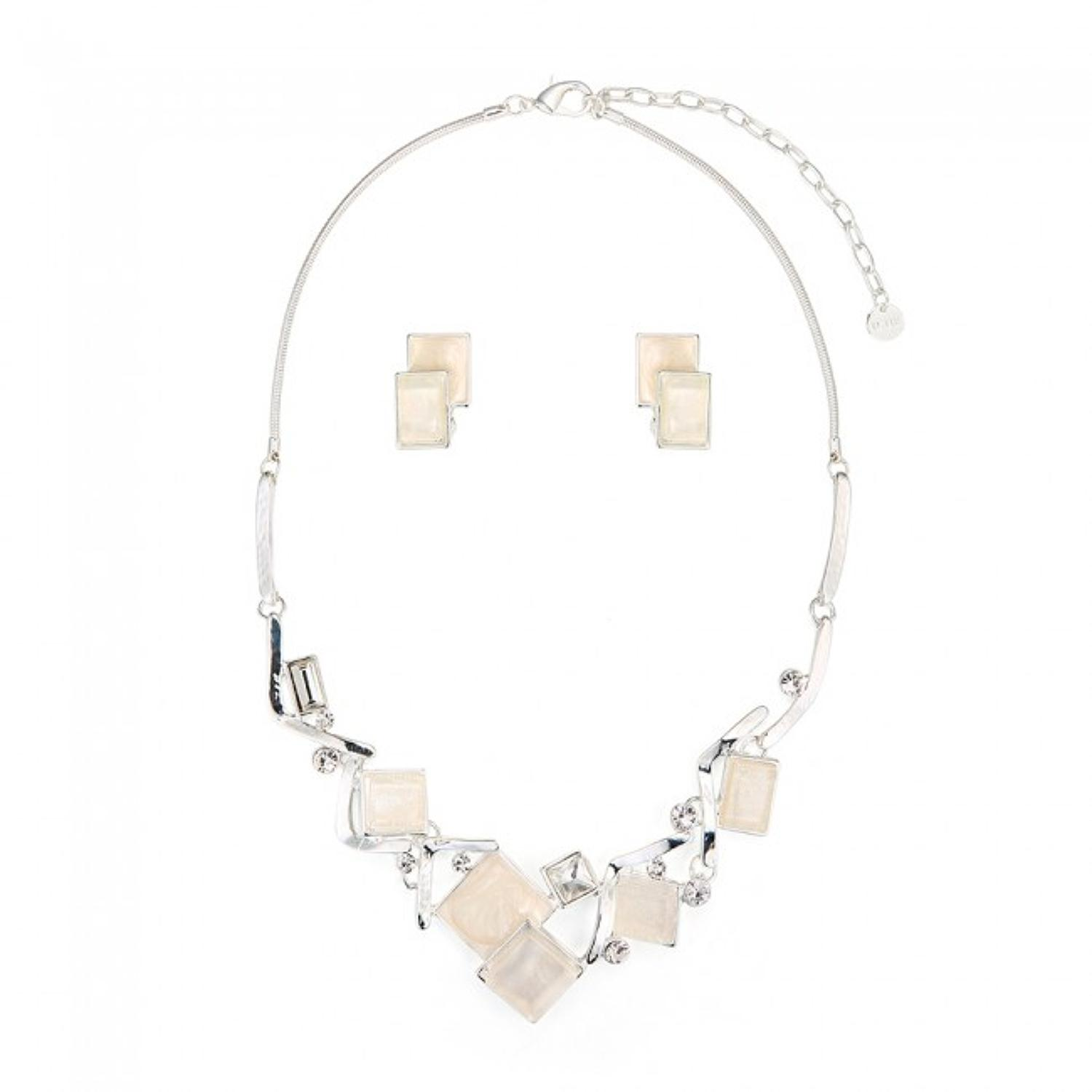 Square White Abstract Necklace & Earring Set