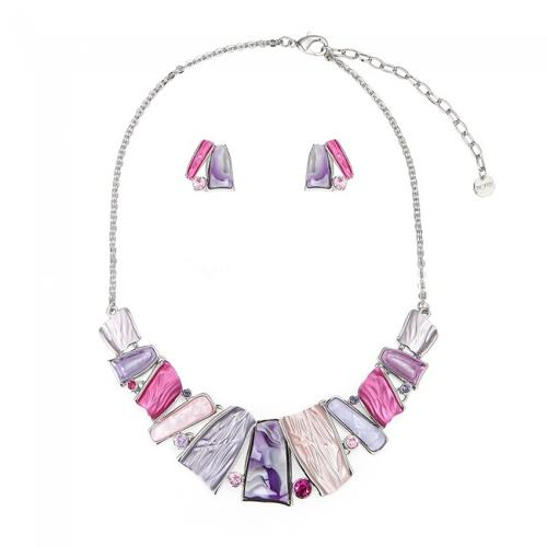 Pink & Purple Abstract Necklace & Earring Set