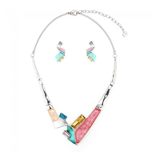 Turquoise & Pink Asymmetrical Necklace & Earring Set