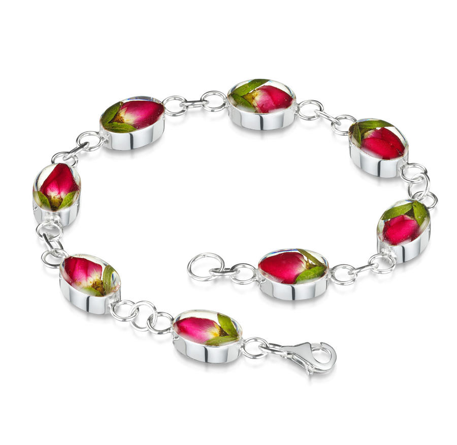 Sterling Silver Rose Flower Bracelet