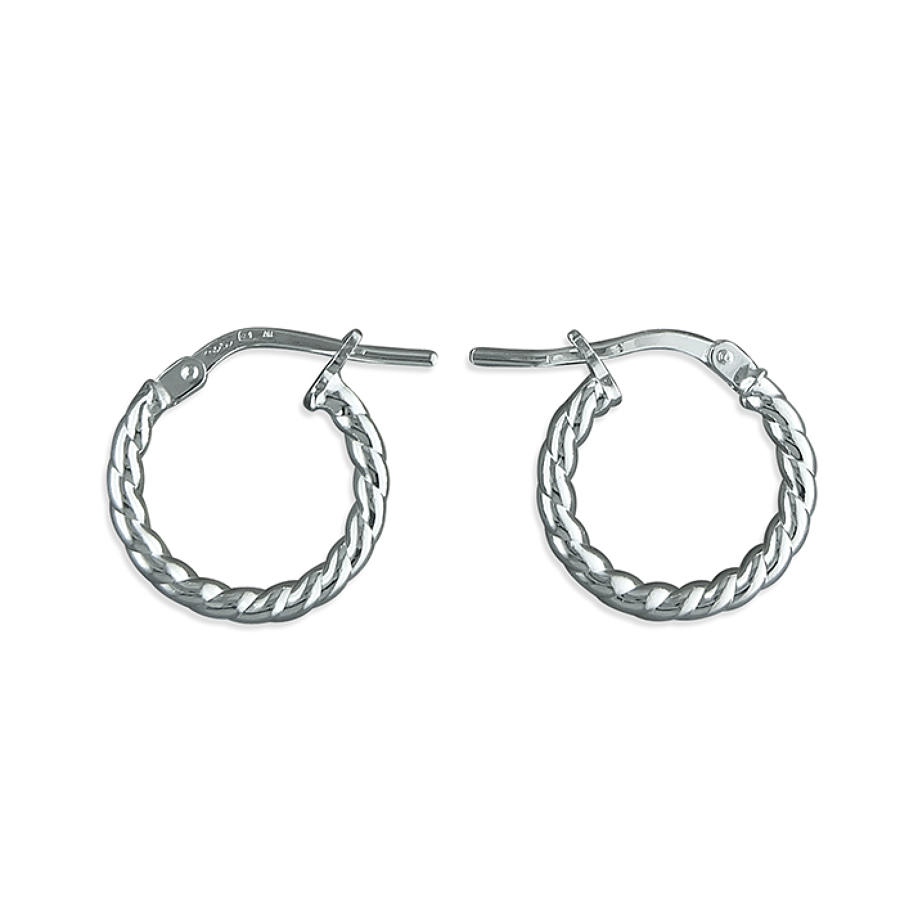Sterling Silver 14mm Small Twist Hoop Earrings