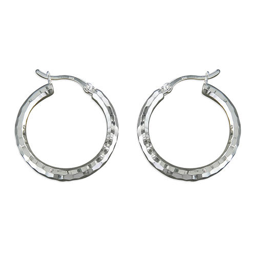 Sterling Silver Medium Diamond Cut Hoop Earrings
