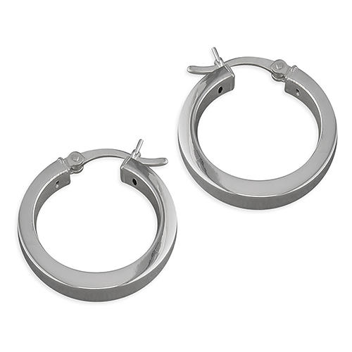 Sterling Silver 22mm Square Section Hoop Earrings