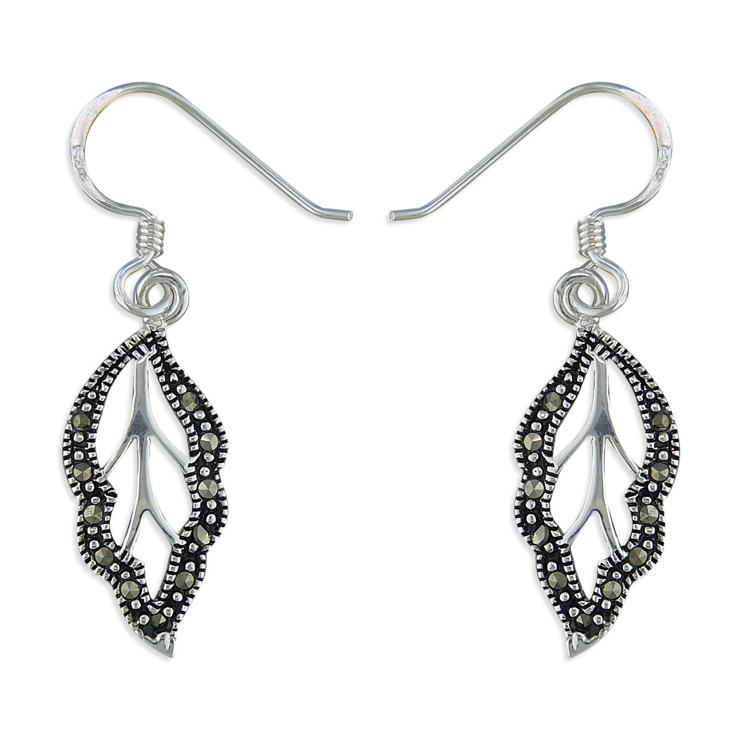 Sterling Silver & Marcasite Leaf Drop Earrings