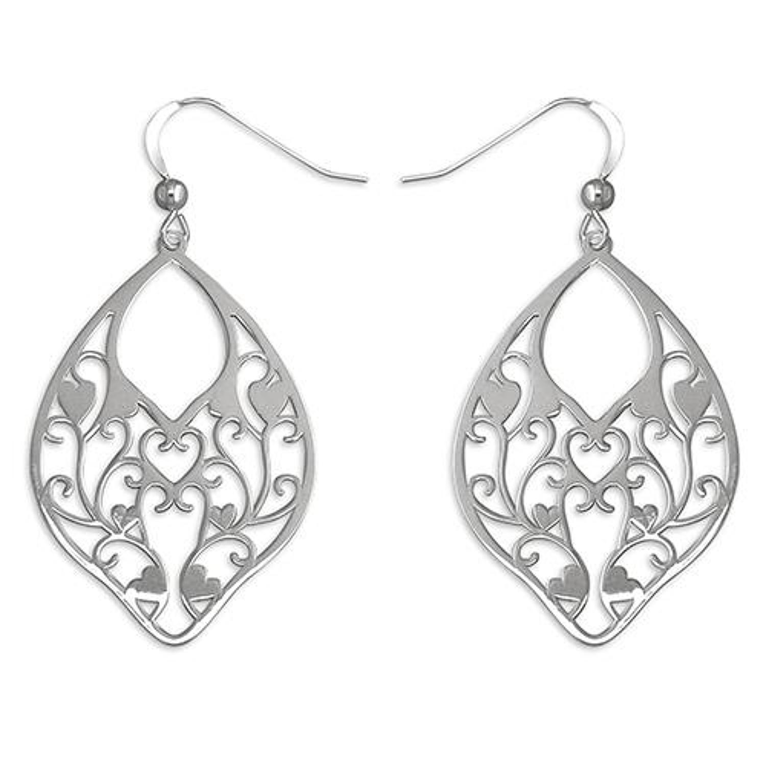 Sterling Silver Fancy Cut Drop Earrings