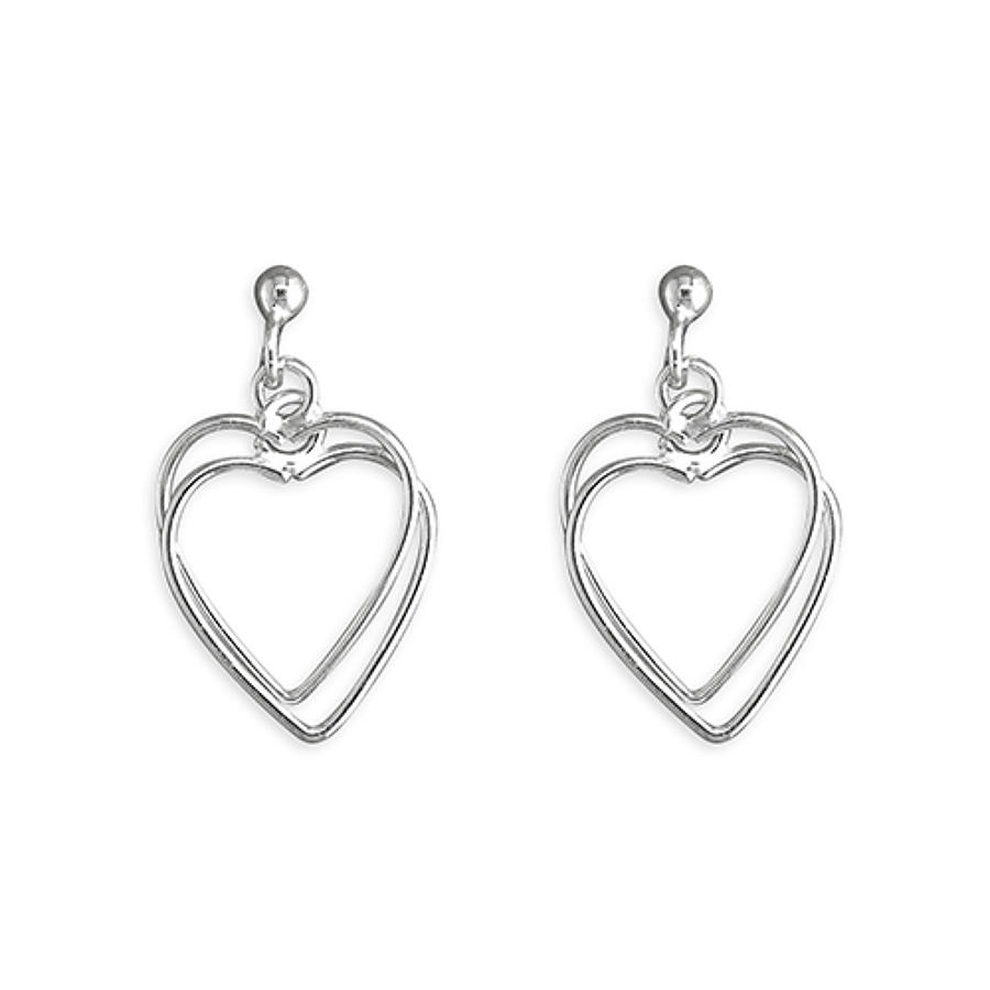 Sterling Silver Double Open Heart Drop Earrings