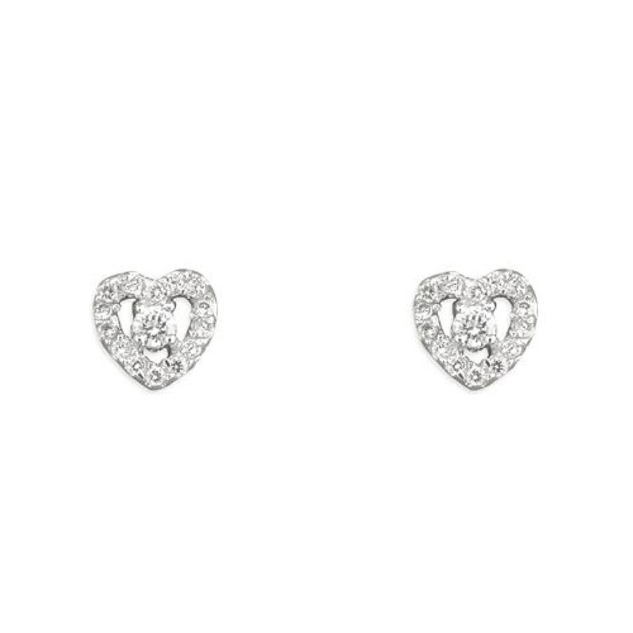 Sterling Silver Cubic Zirconia Open Heart Stud Earrings
