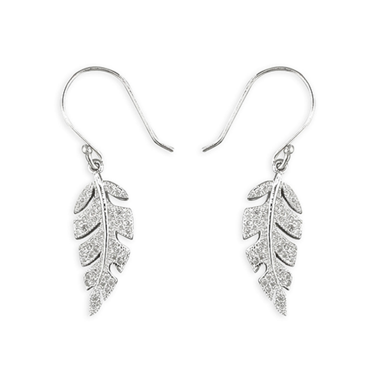 Sterling Silver Cubic Zirconia Leaf Drop Earrings