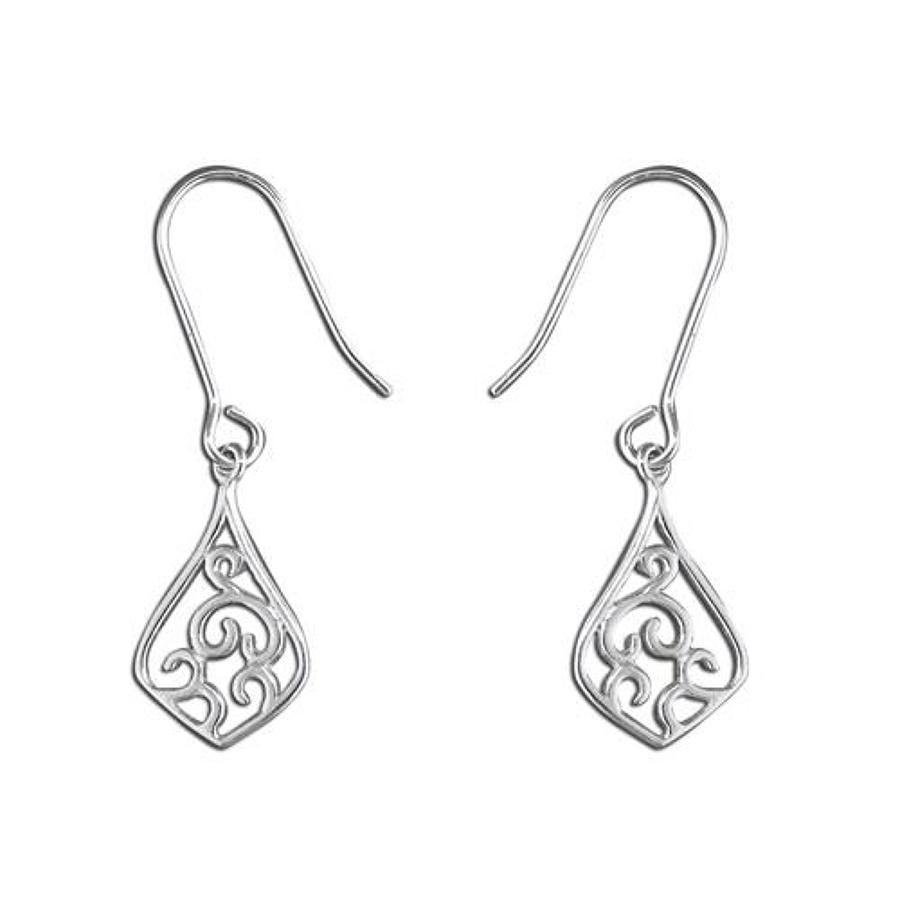 Sterling Silver Fancy Swirl Teardrop Earrings
