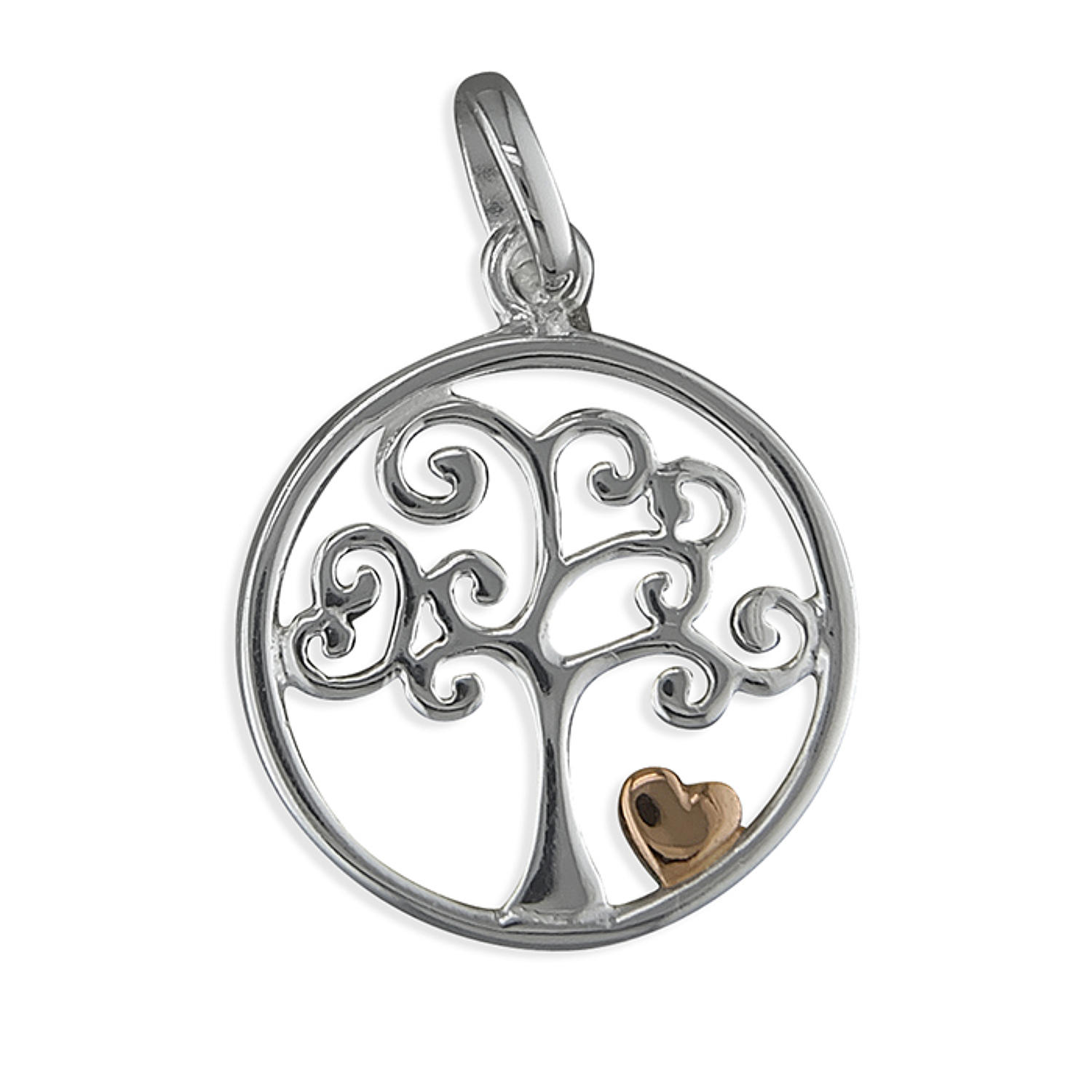 Sterling Silver Tree Of Life Pendant With Rose Gold Plated Heart