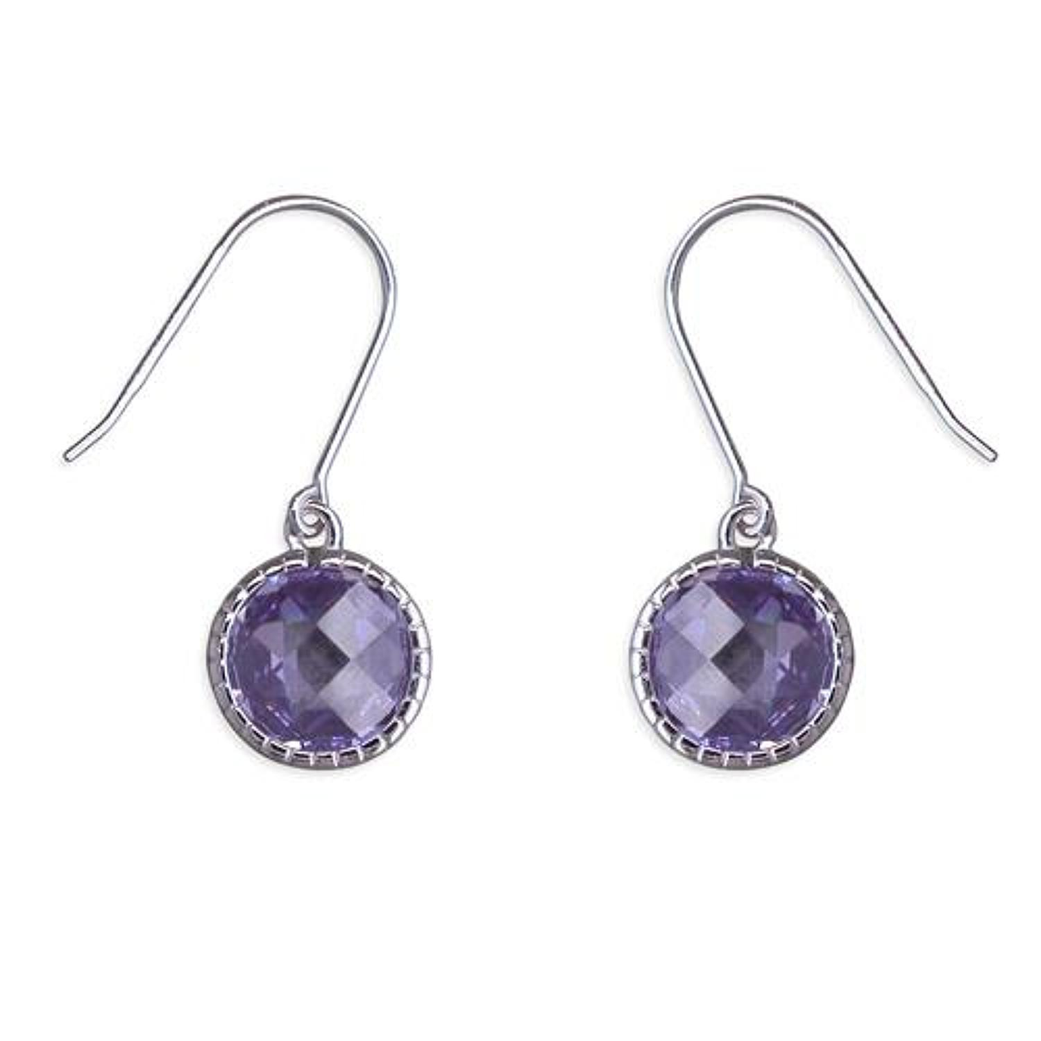 Sterling Silver Lilac Cubic Zirconia Drop Earrings