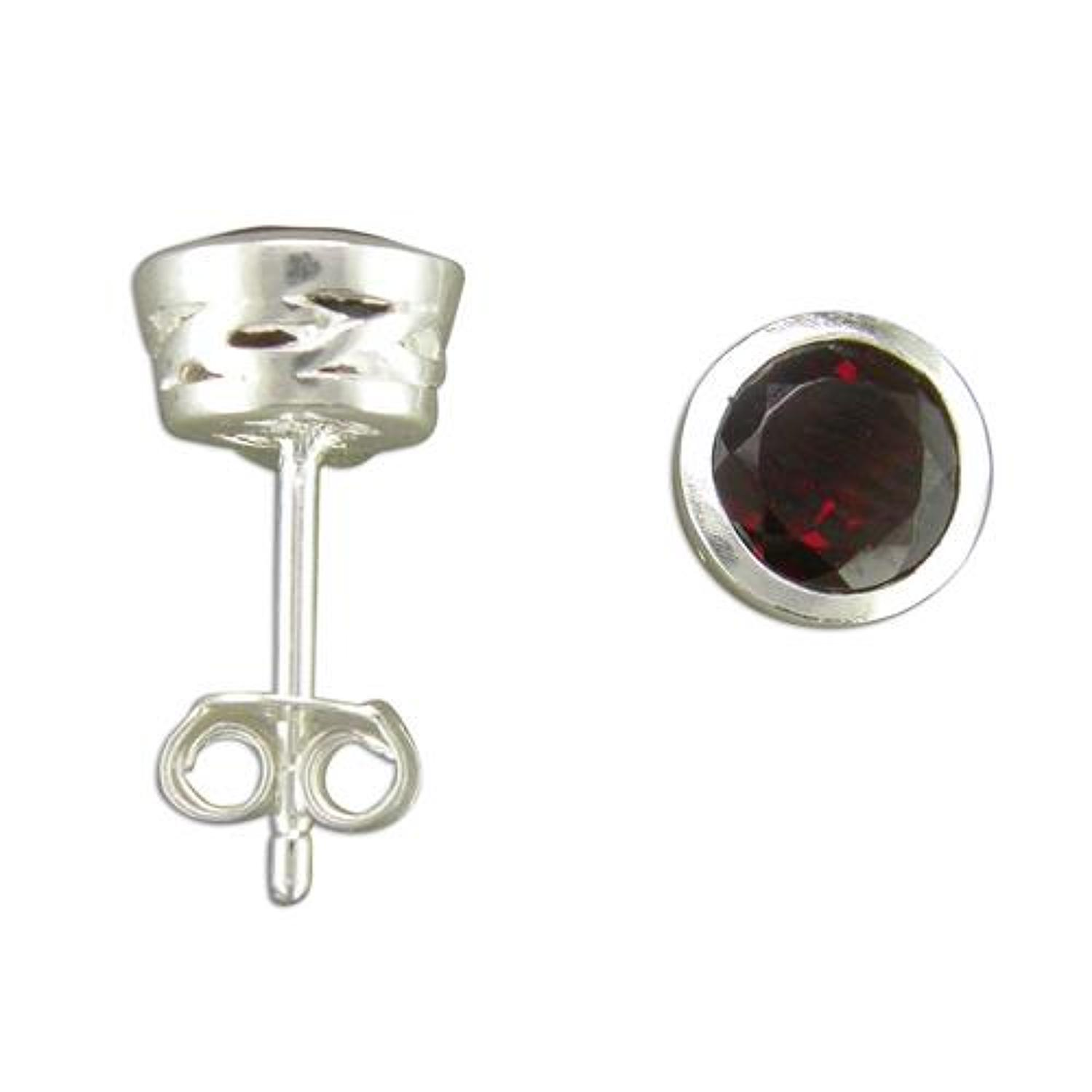 Sterling Silver Garnet Stud Earrings