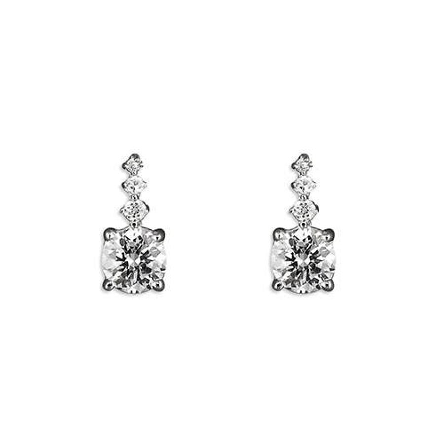 Sterling Silver Cubic Zirconia Graduated Stud Earrings
