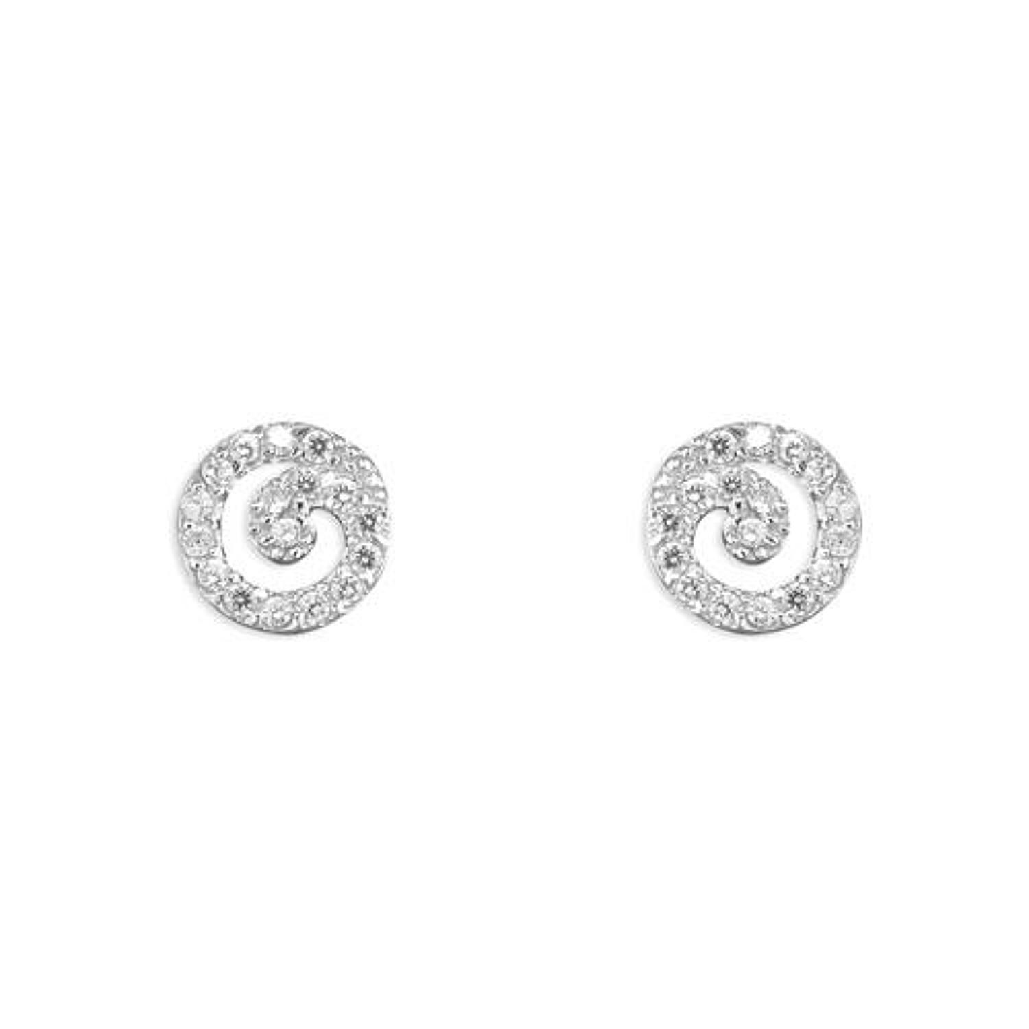 Sterling Silver Cubic Zirconia Circular Stud Earrings