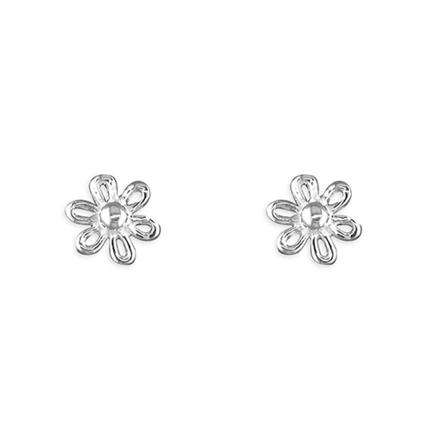 Sterling Silver Open Flower Stud Earrings