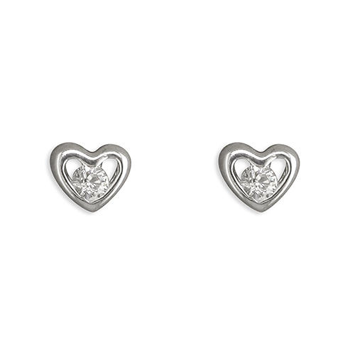 Sterling Silver Small Cubic Zirconia Heart Stud Earrings