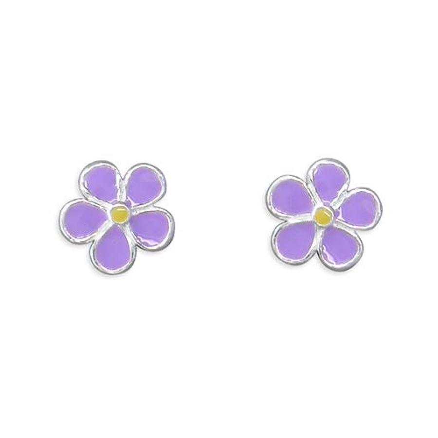 Sterling Silver Lavender Enamel Flower Stud Earrings