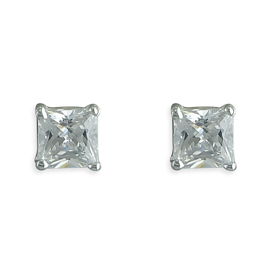 Sterling Silver 5mm Princess Cut Cubic Zirconia Stud Earrings
