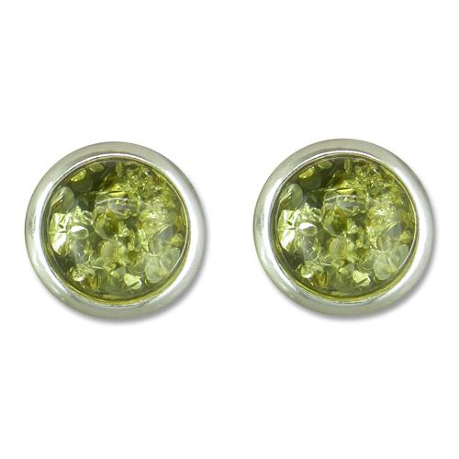 Sterling Silver Green Amber Small Round Stud Earrings