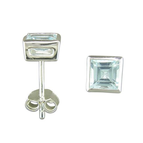 Sterling Silver Blue Topaz Square Stud Earrings