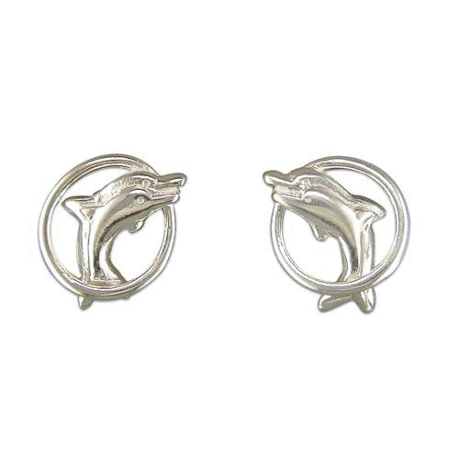 Sterling Silver Dolphin Through Hoop Stud Earrings