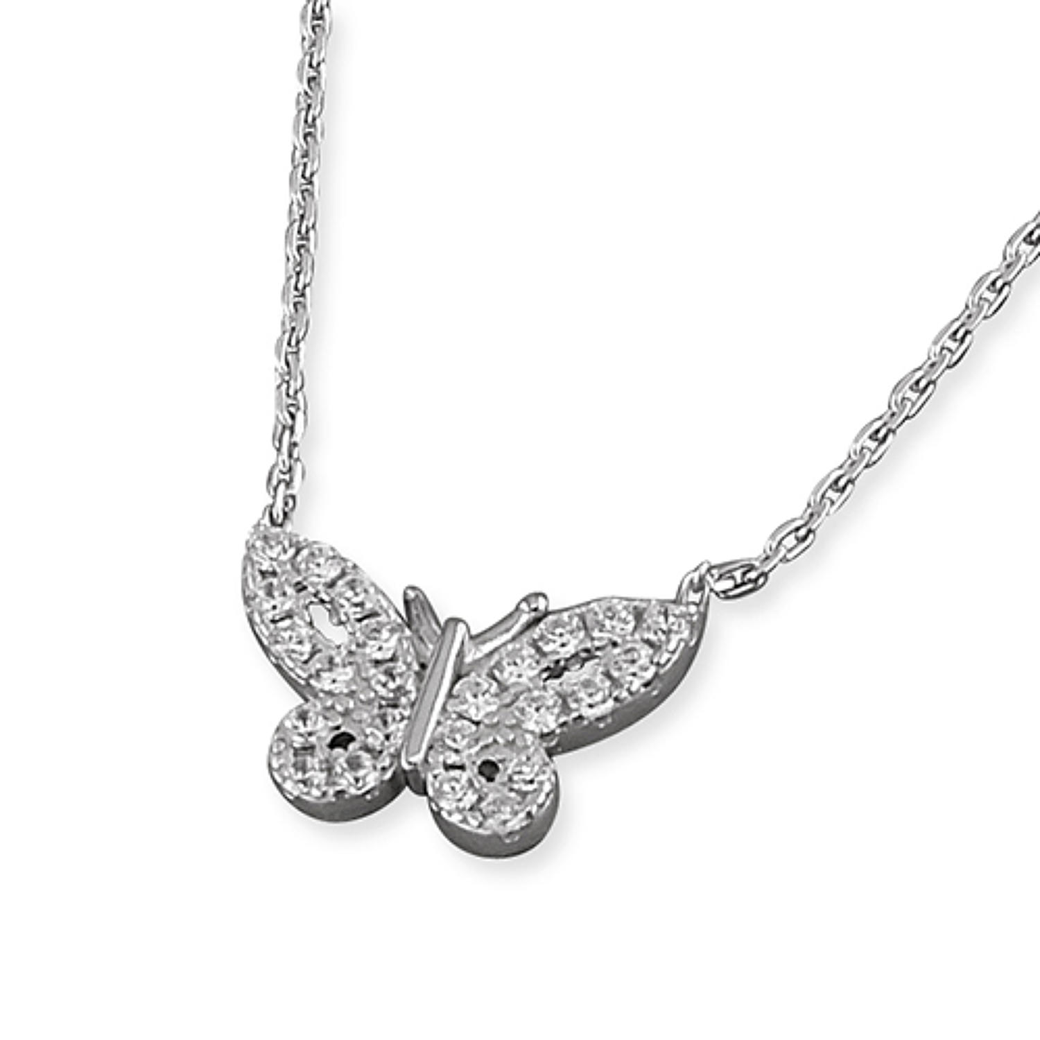 Sterling Silver Cubic Zirconia Small Butterfly Pendant