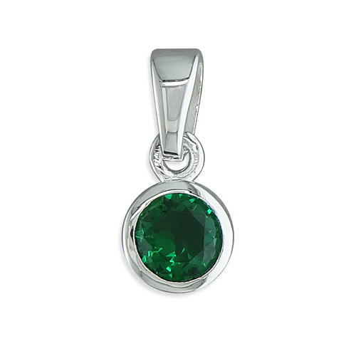 Sterling Silver Green May Birthstone Cubic Zirconia Pendant