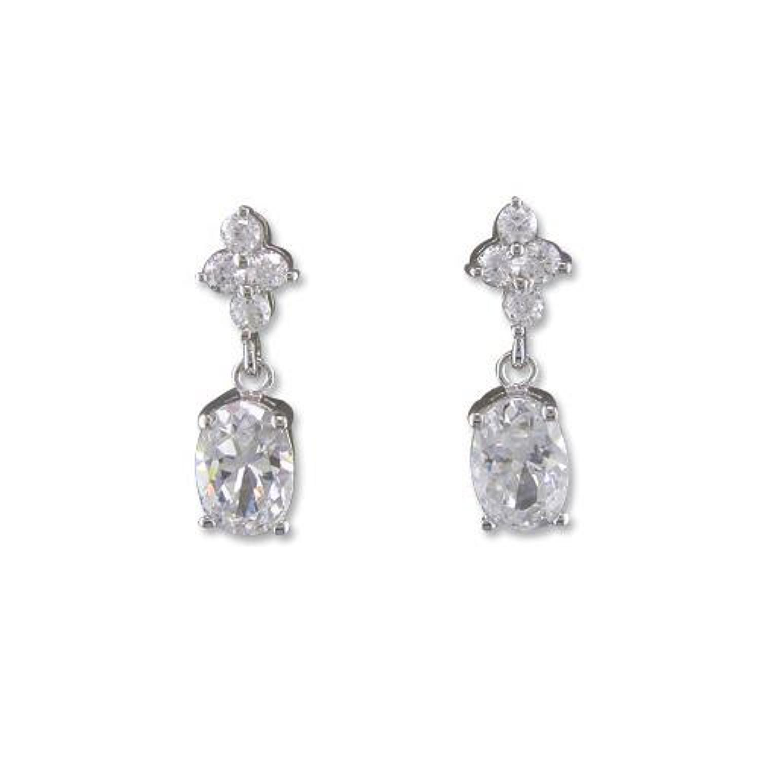 Sterling Silver Cubic Zirconia Flower & Oval Drop Earrings