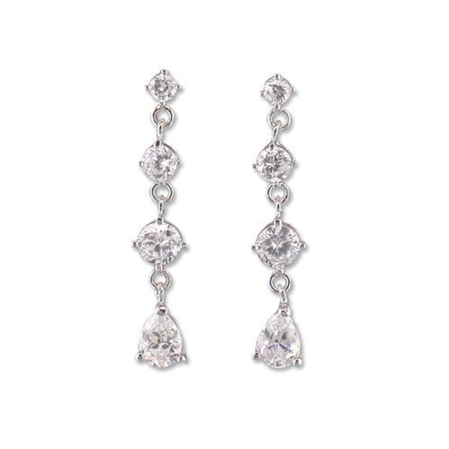 Sterling Silver Cubic Zirconia Graduated Drop Earrings