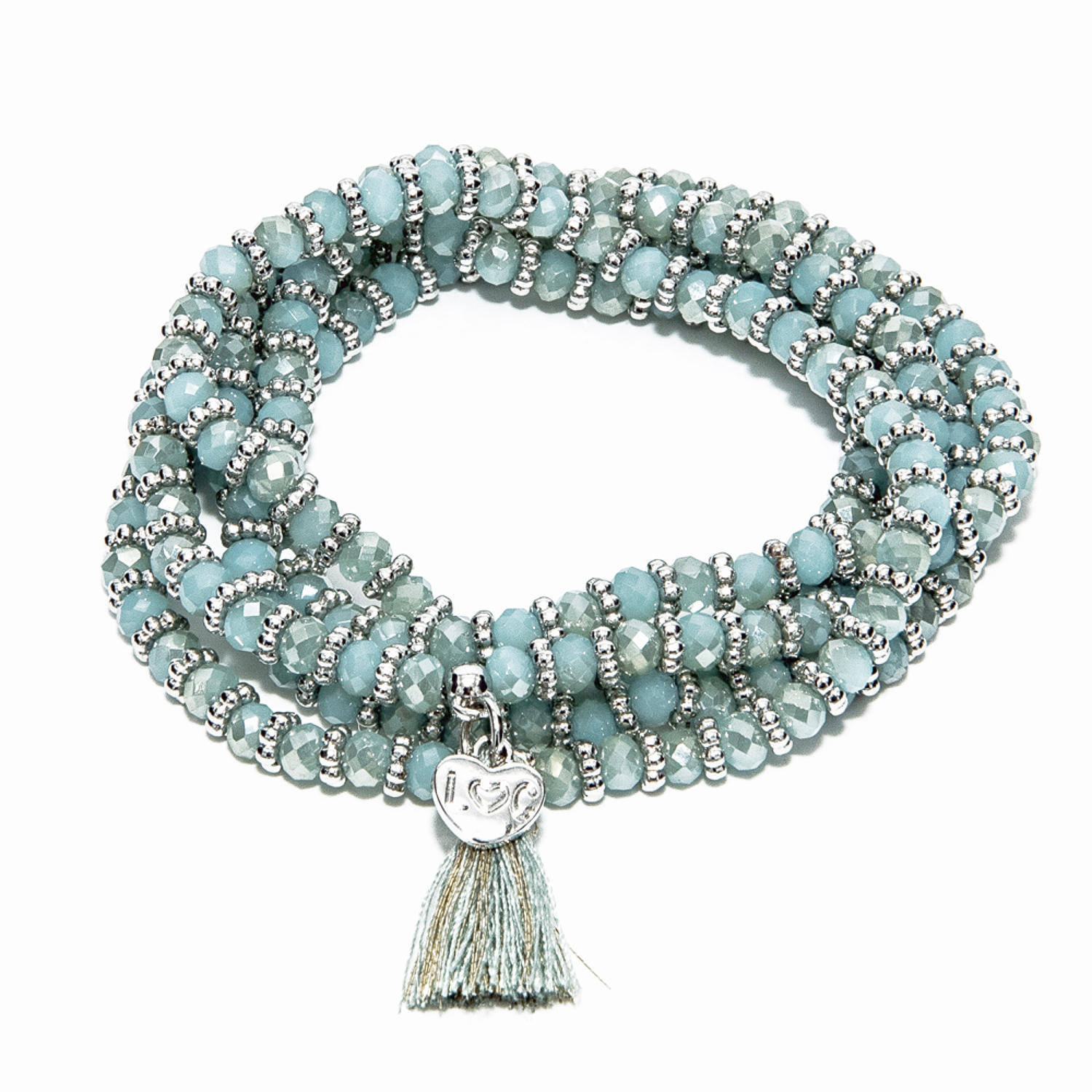 Balearic Aqua Crystal Wrap Bracelet/Necklace