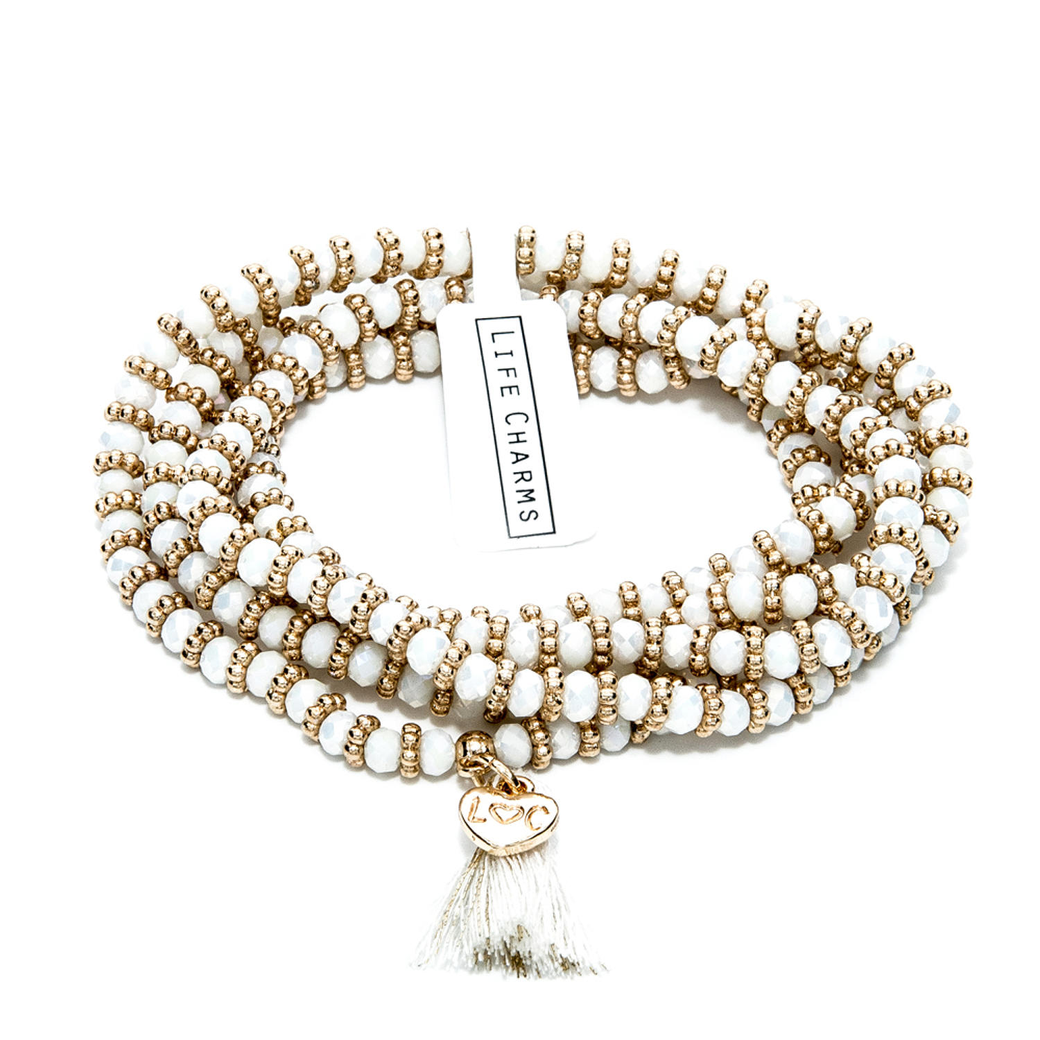 Balearic Cream & Gold Wrap Bracelet/Necklace