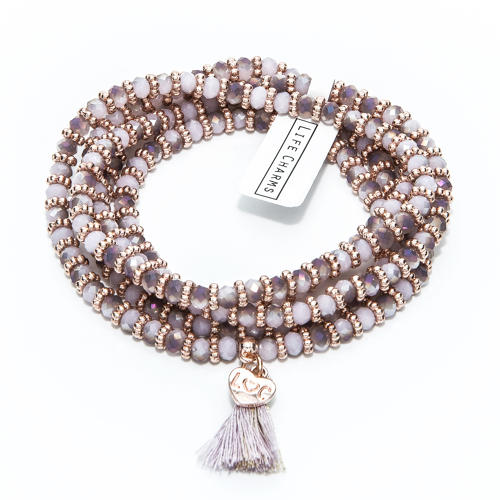 Balearic Violet & Rose Gold Wrap Bracelet/Necklace