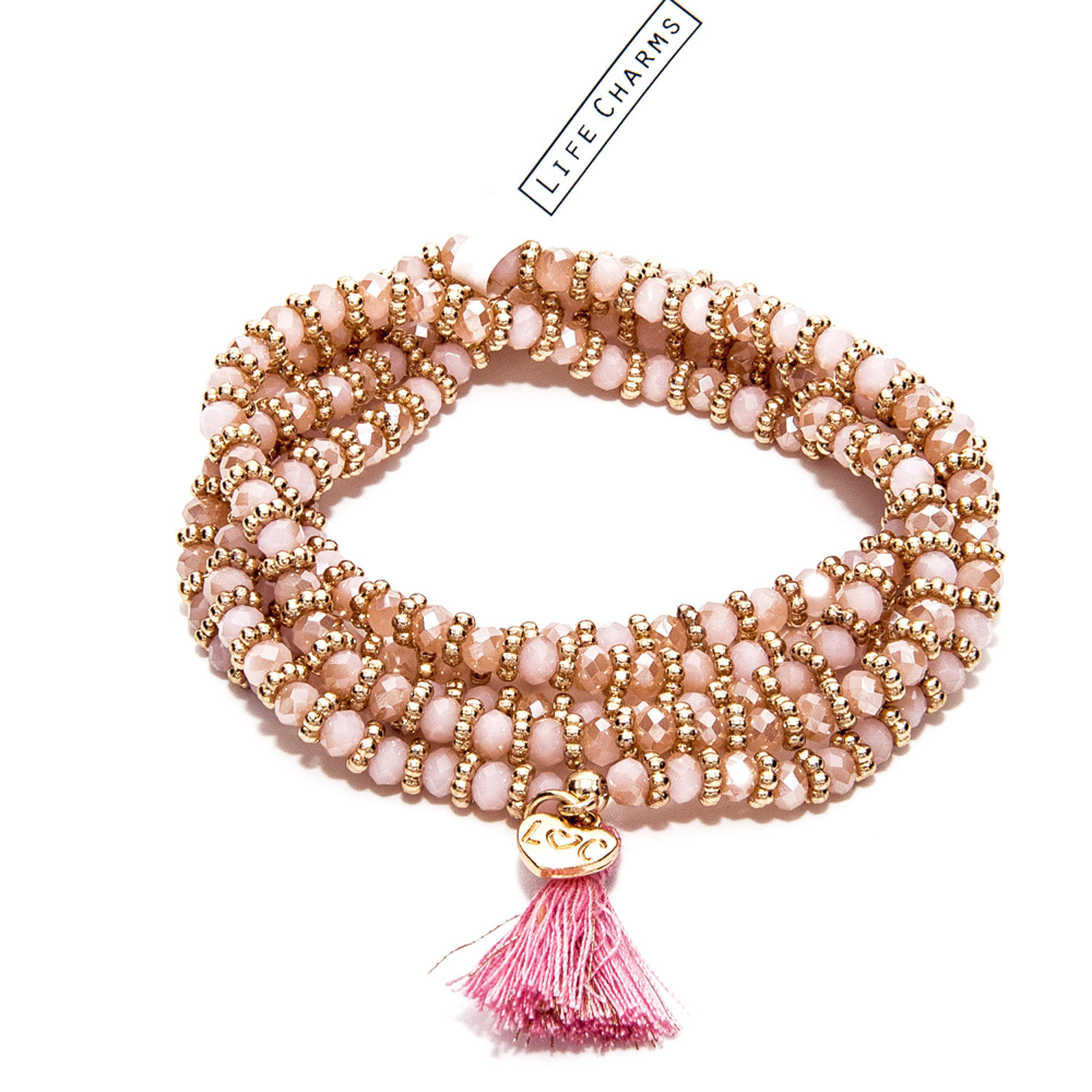 Balearic Pink & Gold Wrap Bracelet/Necklace