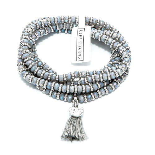 Balearic Grey & Silver Wrap Bracelet/Necklace