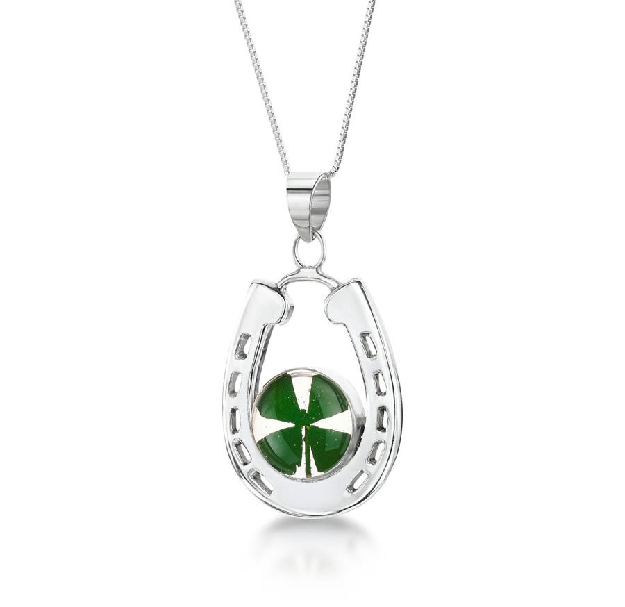 Sterling Silver Four Leaf Clover Horseshoe Pendant