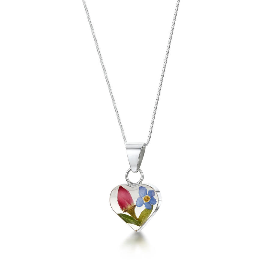 Sterling Silver Rose & Forget-Me-Not Small Heart Pendant