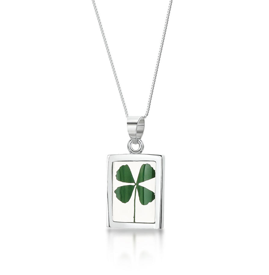 Sterling Silver Four Leaf Clover Rectangle Pendant