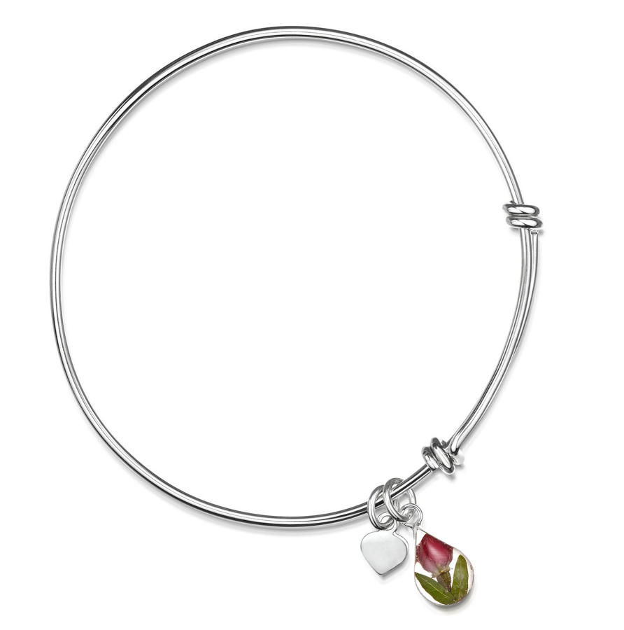 Sterling Silver Teardrop Rose Bangle