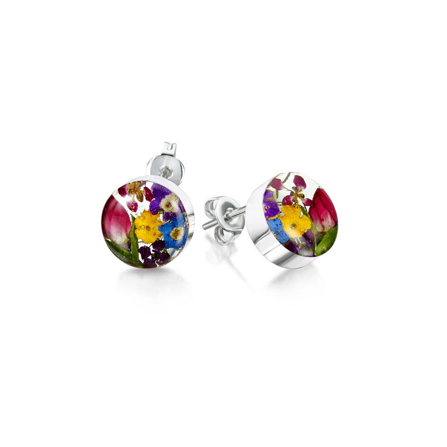 Sterling Silver Small Round Mixed Flowers Stud Earrings
