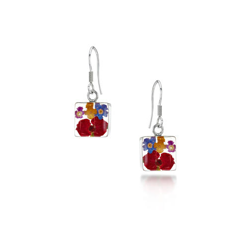 Sterling Silver Square Mixed Flowers Drop Earrings