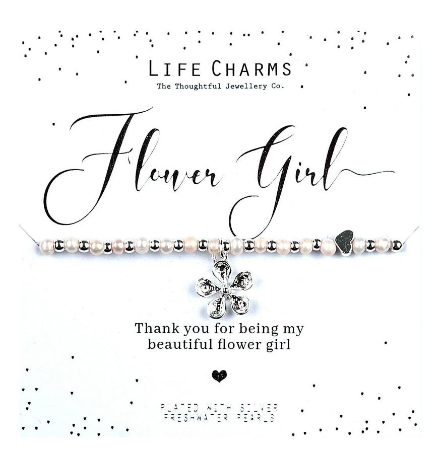 Flower Girl Thank You Flower Pearl Bracelet